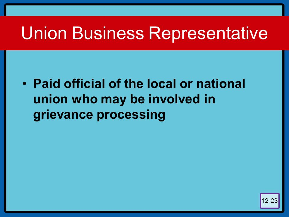 12-23 Union Business Representative Paid official of the local or national union who may be involved in grievance processing