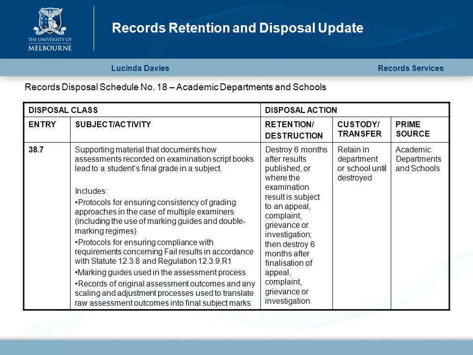 Lucinda Davies Records Retention and Disposal Update Records Services DISPOSAL CLASSDISPOSAL ACTION ENTRYSUBJECT/ACTIVITYRETENTION/ DESTRUCTION CUSTODY/ TRANSFER PRIME SOURCE 38.7Supporting material that documents how assessments recorded on examination script books lead to a student's final grade in a subject.