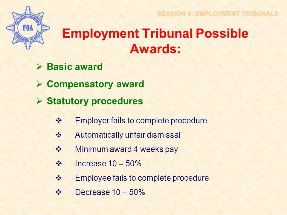 Employment Tribunal Possible Awards:  Basic award  Compensatory award  Statutory procedures  Employer fails to complete procedure  Automatically