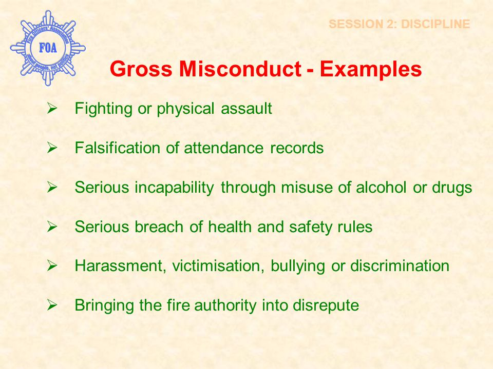 SESSION 2: DISCIPLINE Gross Misconduct - Examples  Fighting or physical assault  Falsification of attendance records  Serious incapability through
