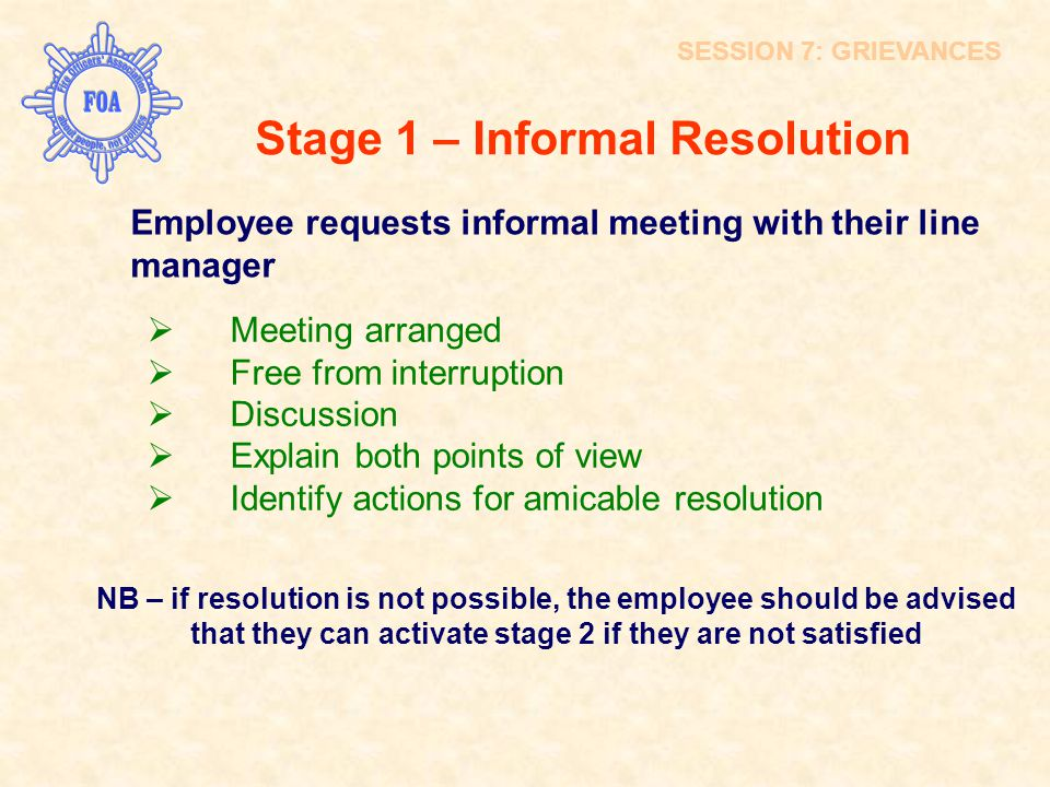 Stage 1 – Informal Resolution Employee requests informal meeting with their line manager  Meeting arranged  Free from interruption  Discussion  Ex