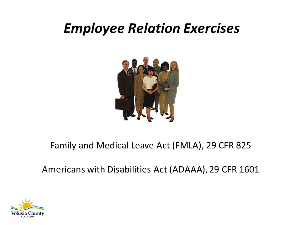Employee Relation Exercises Family and Medical Leave Act (FMLA), 29 CFR 825 Americans with Disabilities Act (ADAAA), 29 CFR 1601
