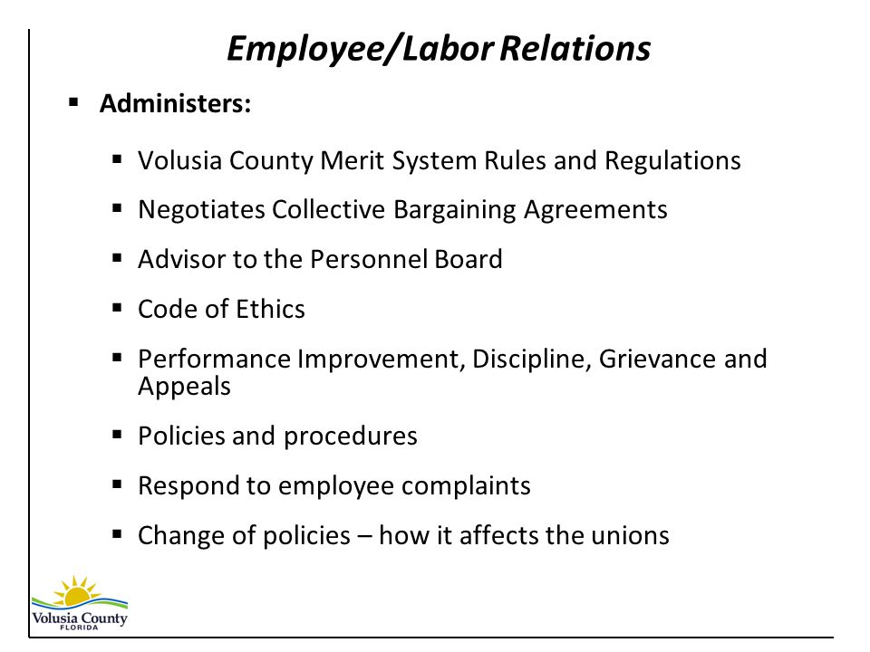 Employee/Labor Relations  Administers:  Volusia County Merit System Rules and Regulations  Negotiates Collective Bargaining Agreements  Advisor to the Personnel Board  Code of Ethics  Performance Improvement, Discipline, Grievance and Appeals  Policies and procedures  Respond to employee complaints  Change of policies – how it affects the unions
