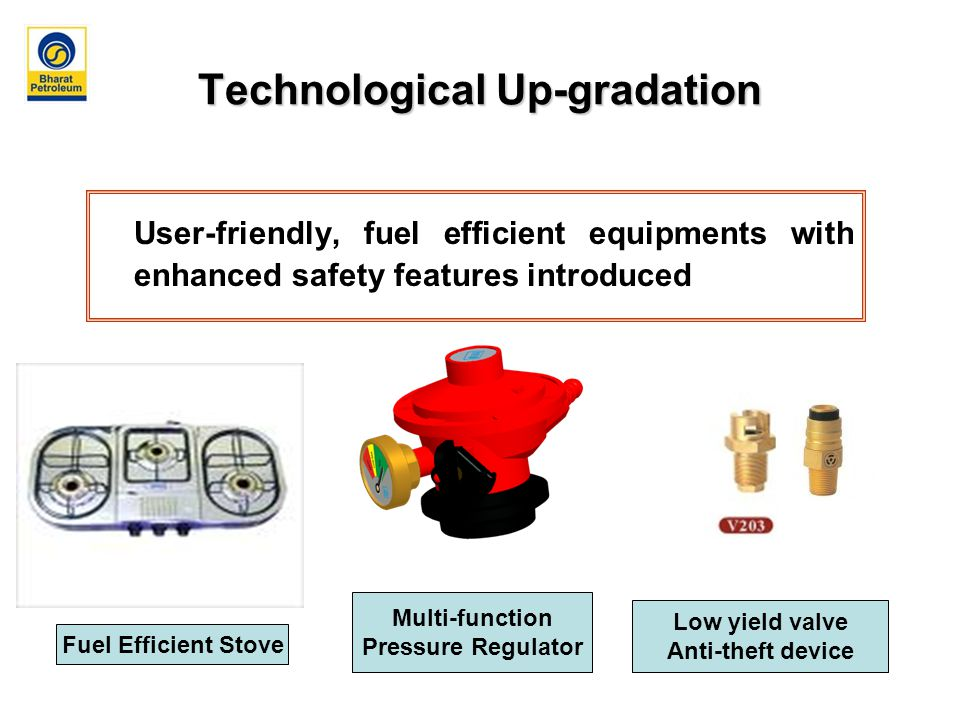 Technological Up-gradation User-friendly, fuel efficient equipments with enhanced safety features introduced Fuel Efficient Stove Multi-function Pressure Regulator Low yield valve Anti-theft device