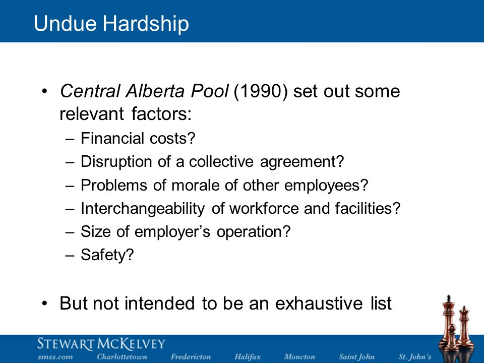 Undue Hardship Central Alberta Pool (1990) set out some relevant factors: –Financial costs.