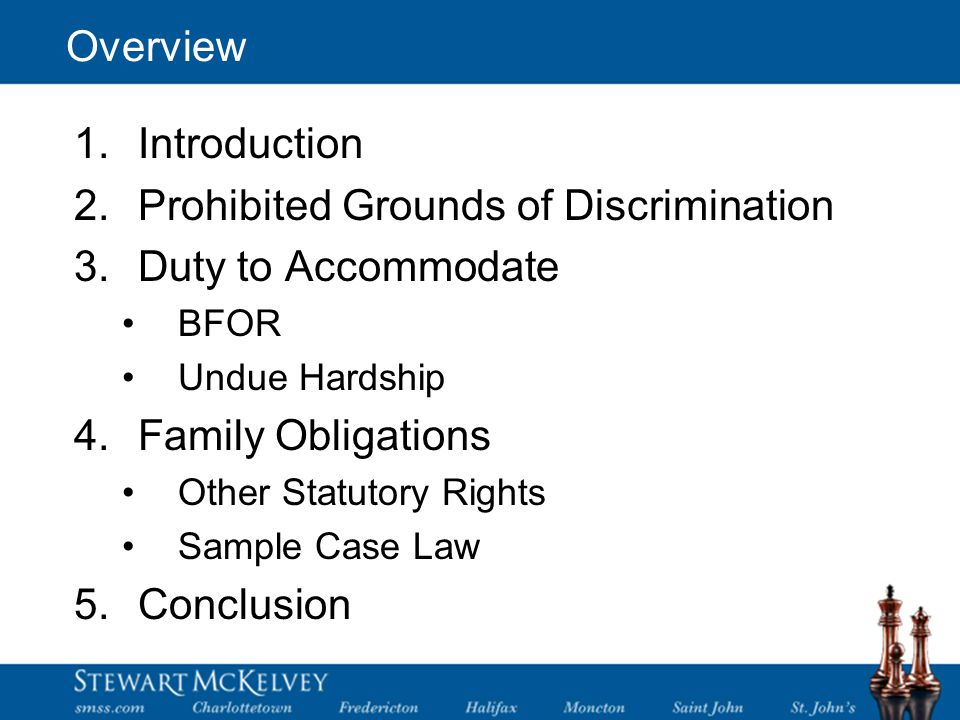 Overview 1.Introduction 2.Prohibited Grounds of Discrimination 3.Duty to Accommodate BFOR Undue Hardship 4.Family Obligations Other Statutory Rights Sample Case Law 5.Conclusion