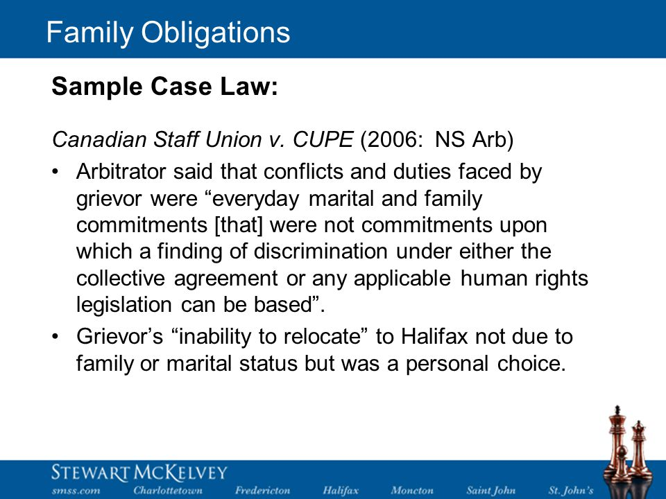 Family Obligations Canadian Staff Union v.