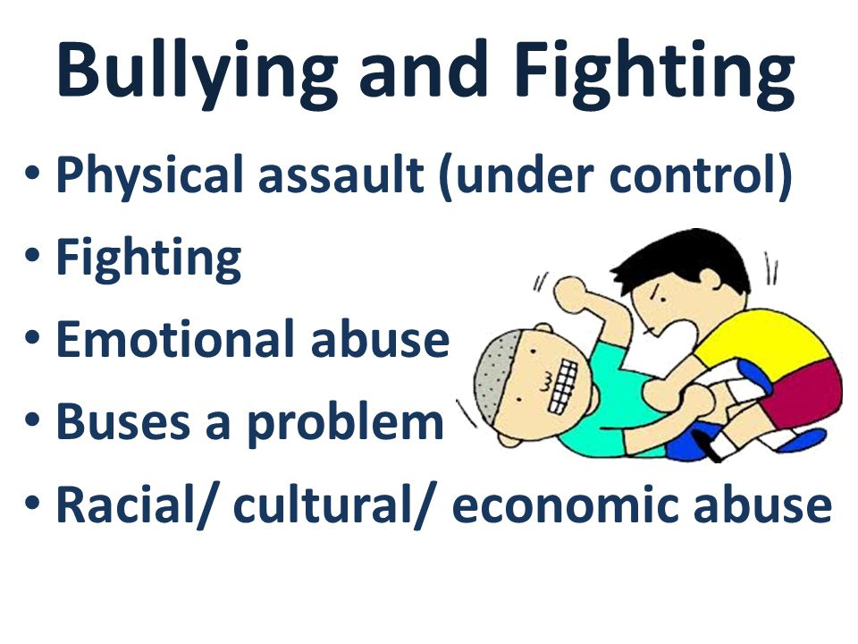 Bullying and Fighting Physical assault (under control) Fighting Emotional abuse Buses a problem Racial/ cultural/ economic abuse