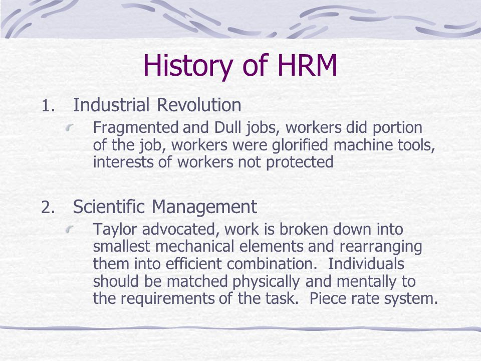 History of HRM 1.