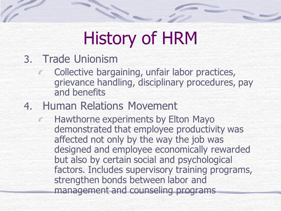 History of HRM 3.