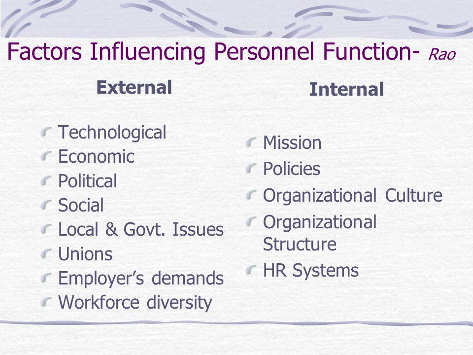Factors Influencing Personnel Function- Rao External Technological Economic Political Social Local & Govt.
