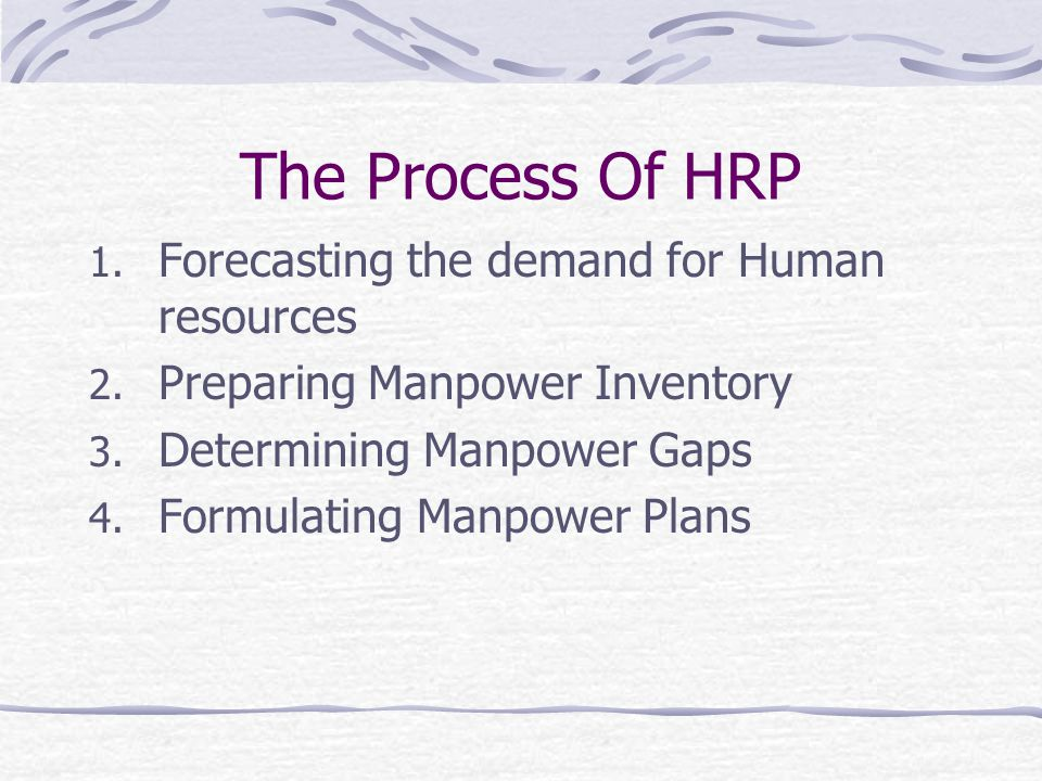 The Process Of HRP 1.Forecasting the demand for Human resources 2.