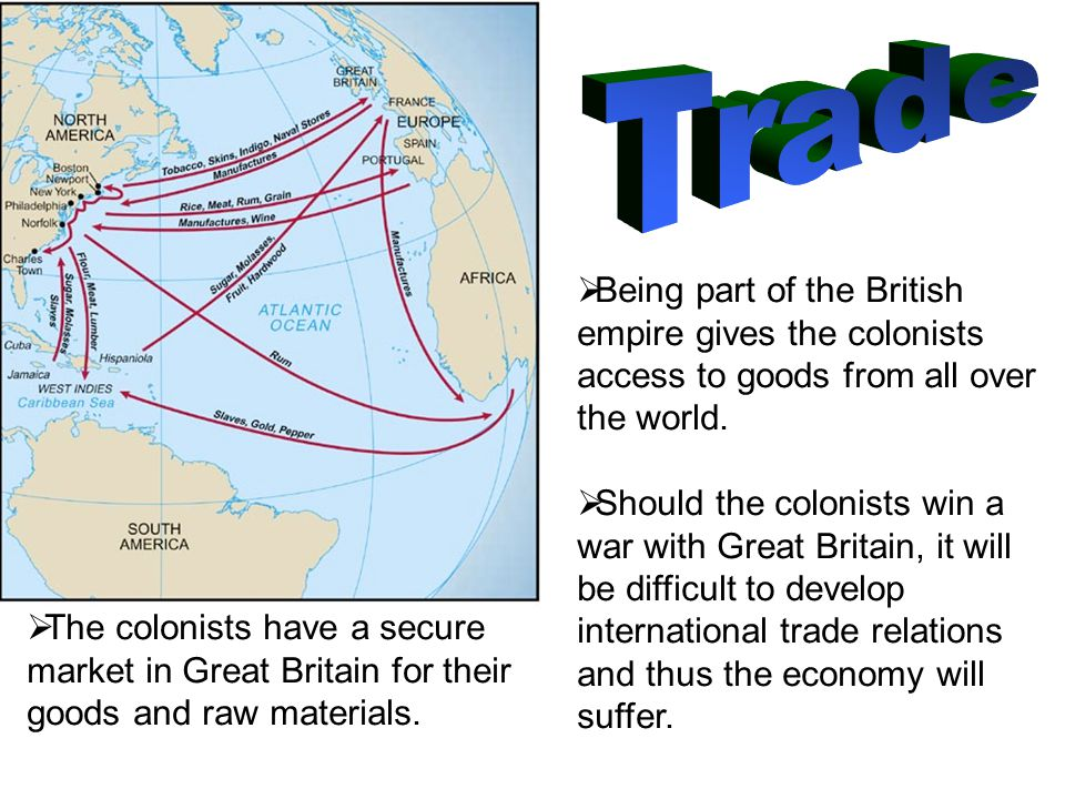  Being part of the British empire gives the colonists access to goods from all over the world.