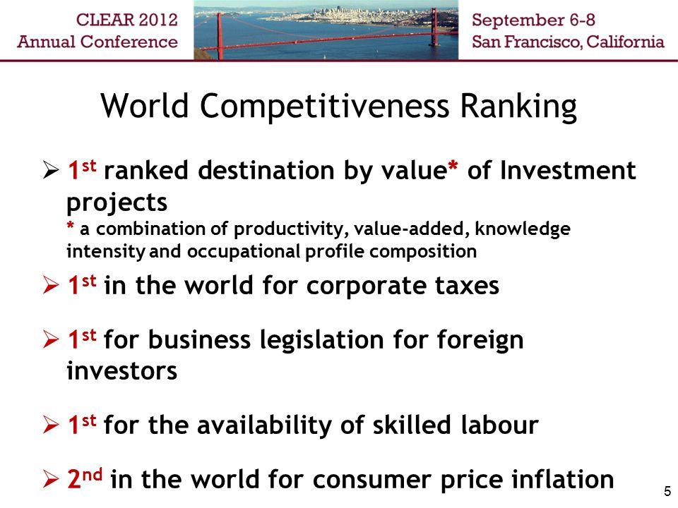 World Competitiveness Ranking  1 st ranked destination by value* of Investment projects * a combination of productivity, value-added, knowledge inten