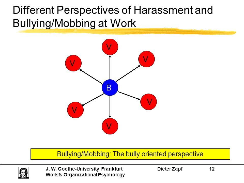 J. W. Goethe-University Frankfurt Dieter Zapf 12 Work & Organizational Psychology Bullying/Mobbing: The bully oriented perspective B V V V V V V Diffe