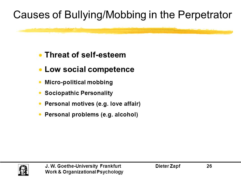 J. W. Goethe-University Frankfurt Dieter Zapf 26 Work & Organizational Psychology Causes of Bullying/Mobbing in the Perpetrator  Threat of self-estee