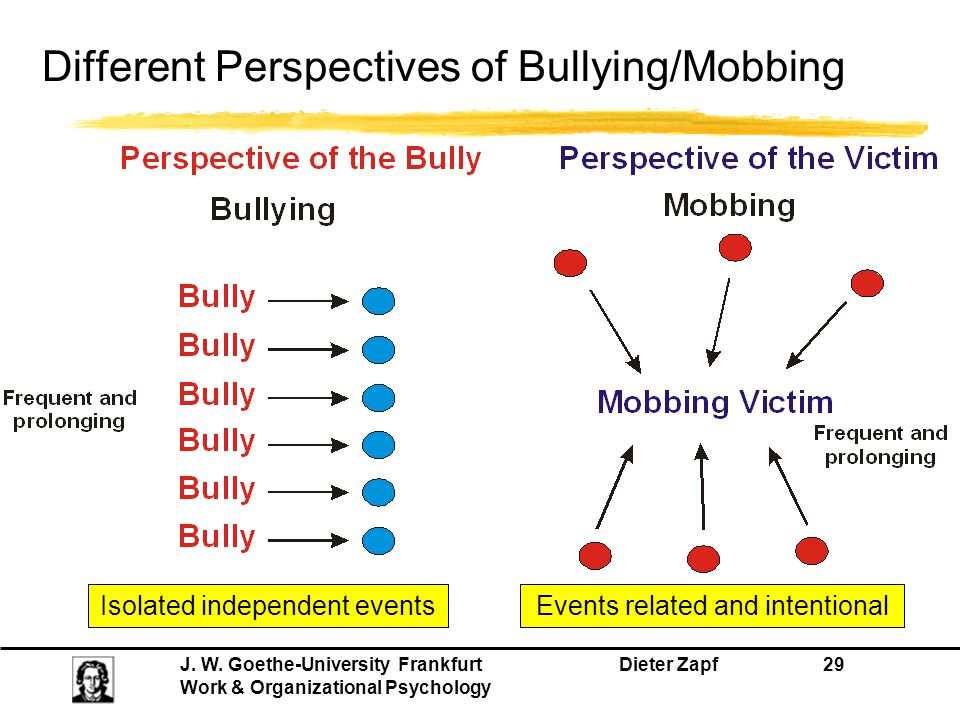 J. W. Goethe-University Frankfurt Dieter Zapf 29 Work & Organizational Psychology Different Perspectives of Bullying/Mobbing Isolated independent even