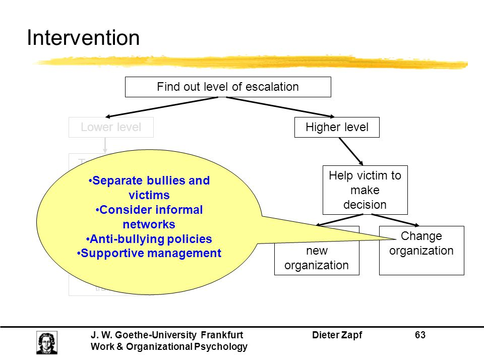 J. W. Goethe-University Frankfurt Dieter Zapf 63 Work & Organizational Psychology Intervention Find out level of escalation Lower levelHigher level He