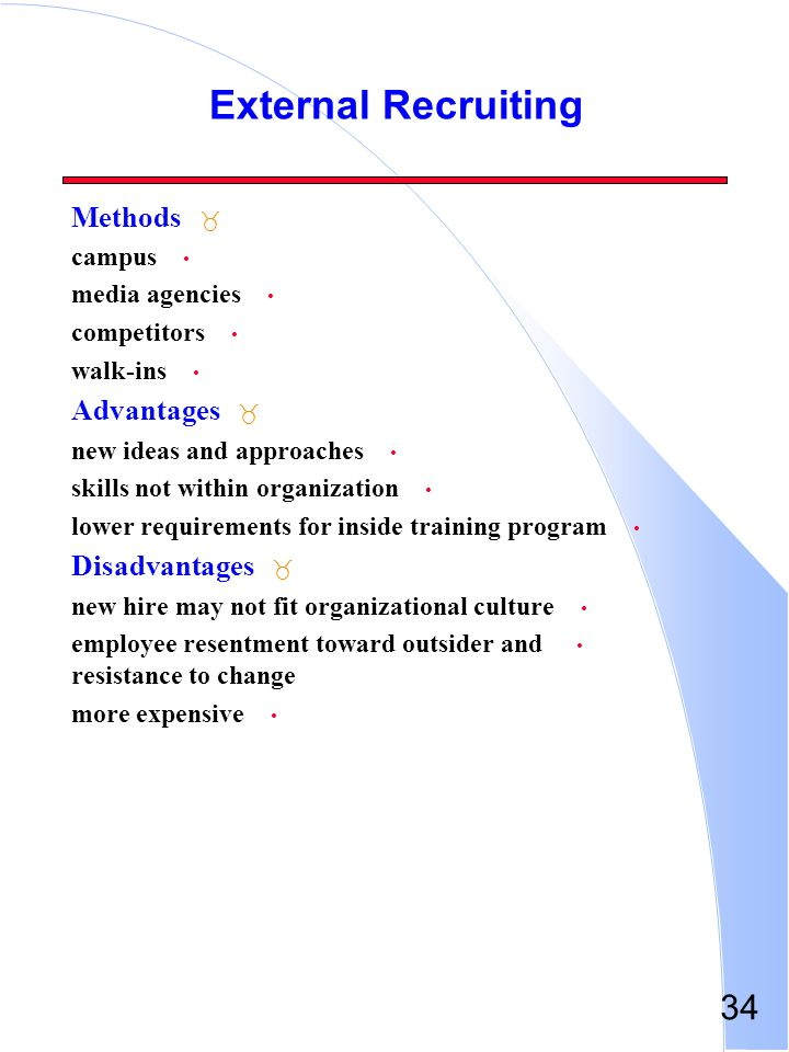 34 External Recruiting _ Methods campus media agencies competitors walk-ins _ Advantages new ideas and approaches skills not within organization lower