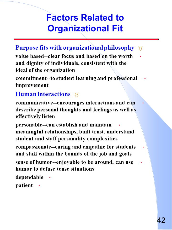 42 Factors Related to Organizational Fit _ Purpose fits with organizational philosophy value based--clear focus and based on the worth and dignity of
