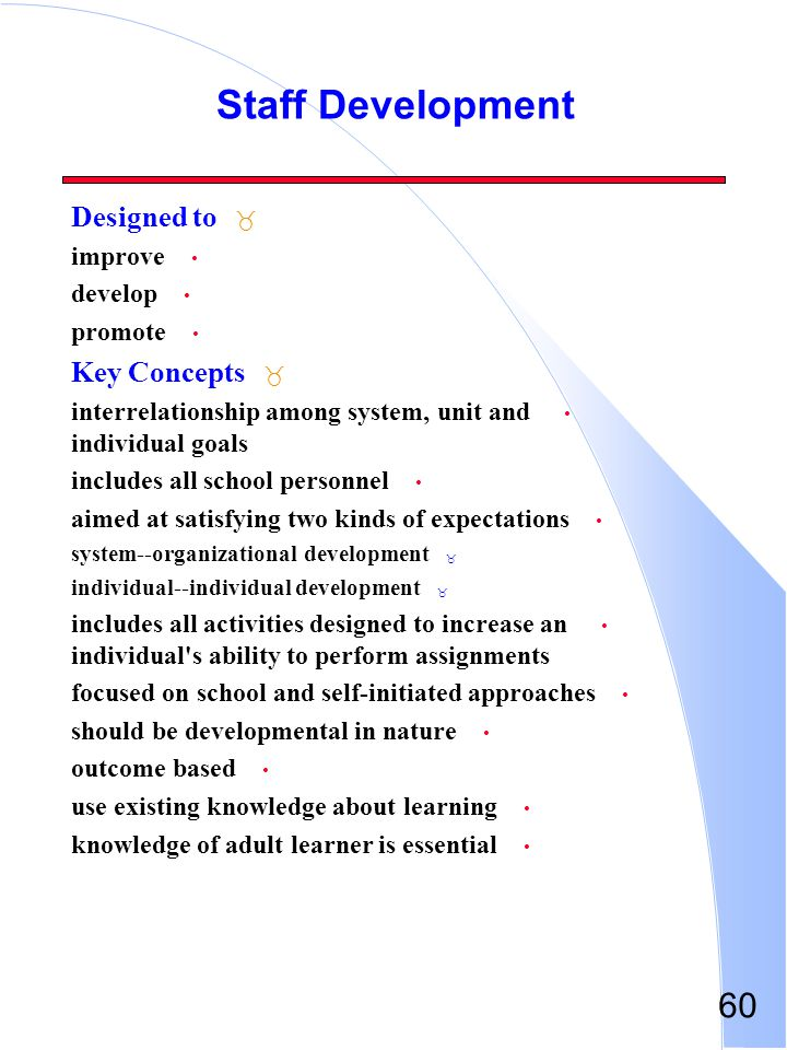 60 Staff Development _ Designed to improve develop promote _ Key Concepts interrelationship among system, unit and individual goals includes all schoo