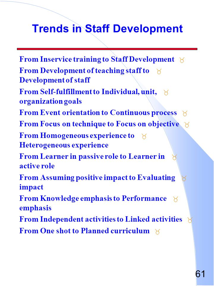 61 Trends in Staff Development _ From Inservice training to Staff Development _ From Development of teaching staff to Development of staff _ From Self