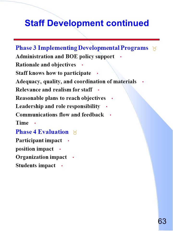 63 Staff Development continued _ Phase 3 Implementing Developmental Programs Administration and BOE policy support Rationale and objectives Staff know