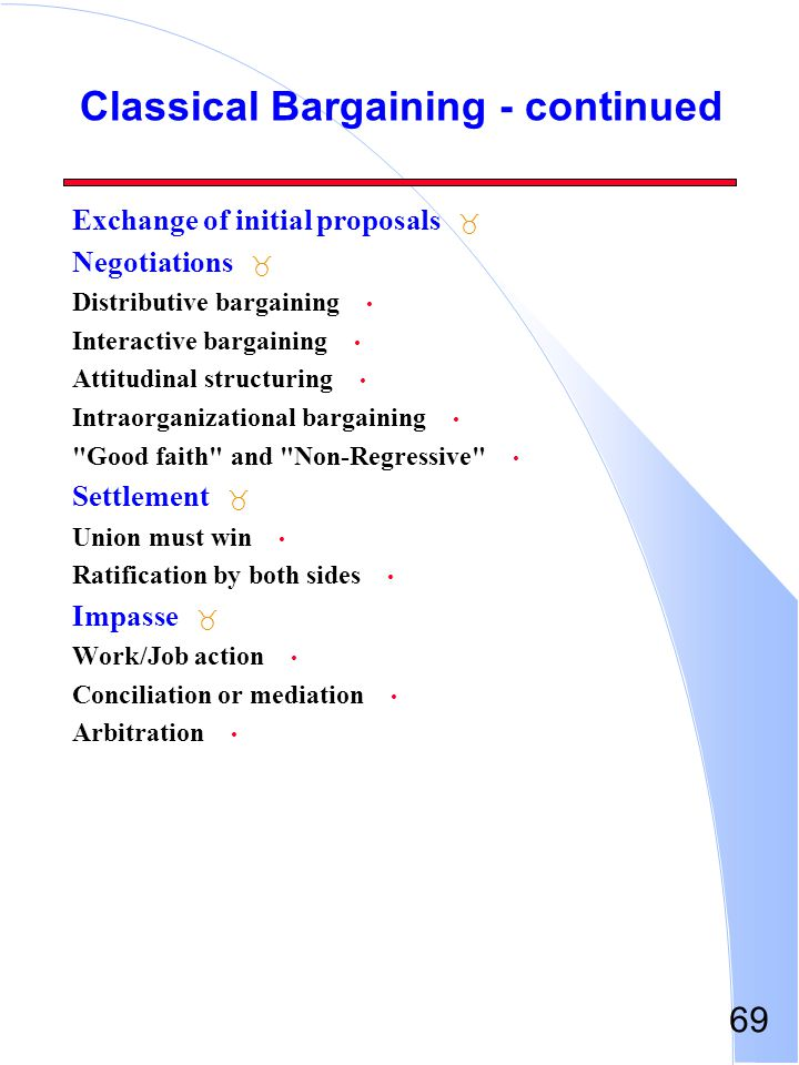 69 Classical Bargaining - continued _ Exchange of initial proposals _ Negotiations Distributive bargaining Interactive bargaining Attitudinal structur