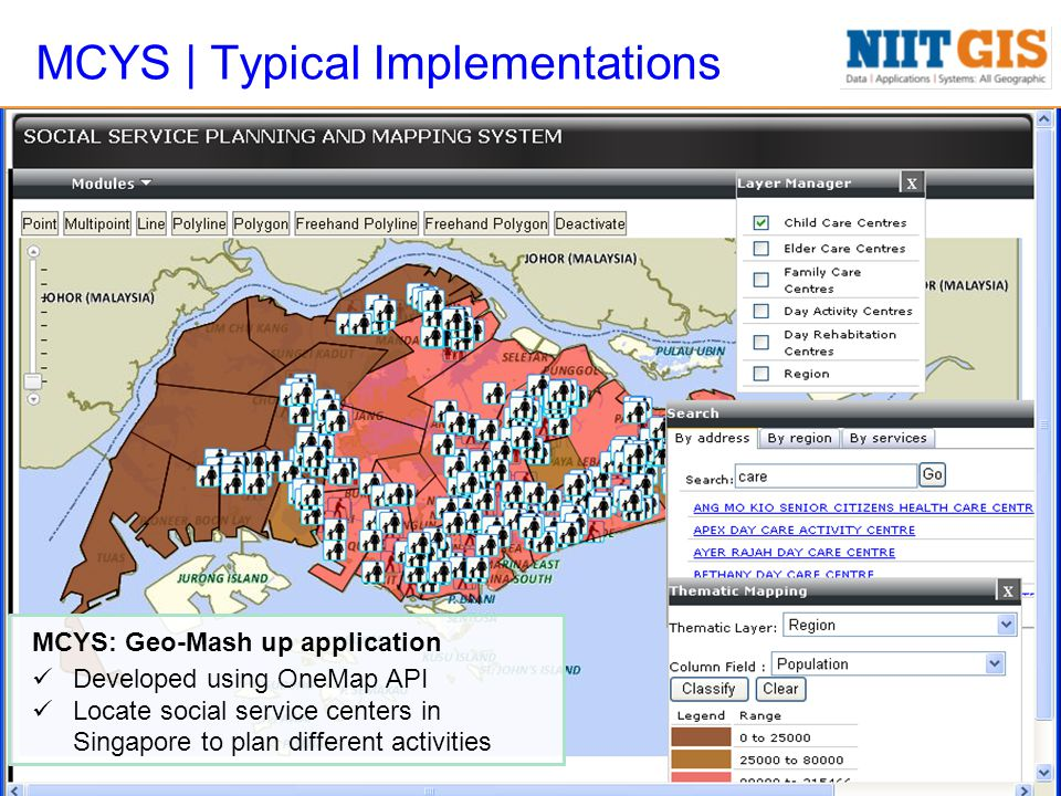 MCYS | Typical Implementations MCYS: Geo-Mash up application Developed using OneMap API Locate social service centers in Singapore to plan different activities