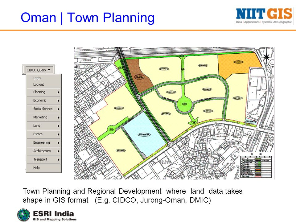 Oman | Town Planning Town Planning and Regional Development where land data takes shape in GIS format (E.g. CIDCO, Jurong-Oman, DMIC)