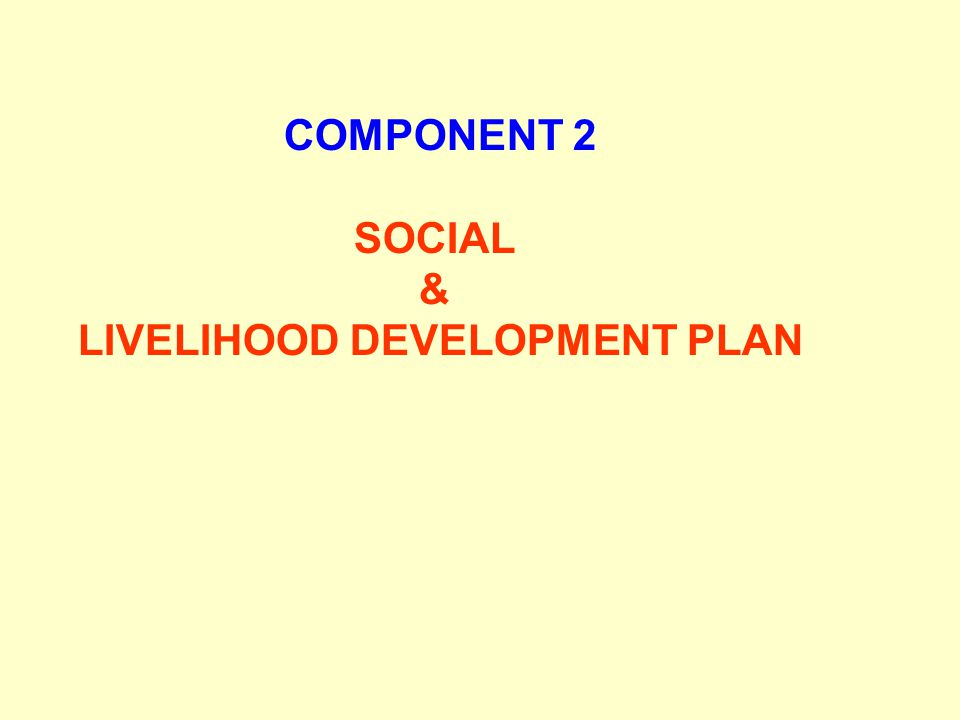 COMPONENT 2 SOCIAL & LIVELIHOOD DEVELOPMENT PLAN