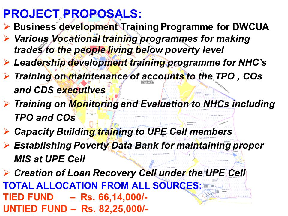 PROJECT PROPOSALS:  Business development Training Programme for DWCUA  Various Vocational training programmes for making trades to the people living