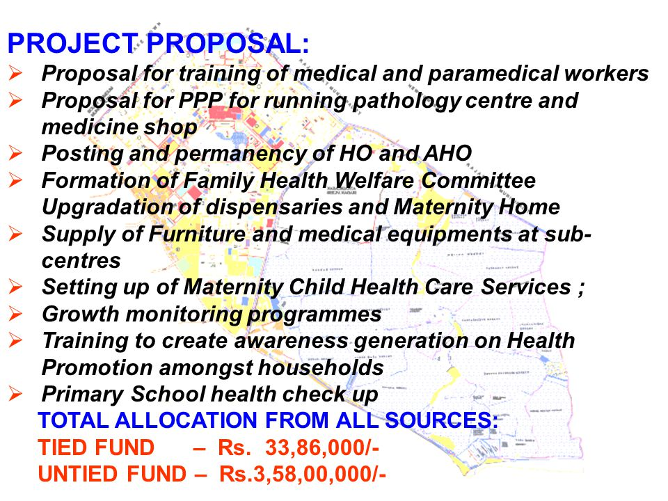 PROJECT PROPOSAL:  Proposal for training of medical and paramedical workers  Proposal for PPP for running pathology centre and medicine shop  Posti
