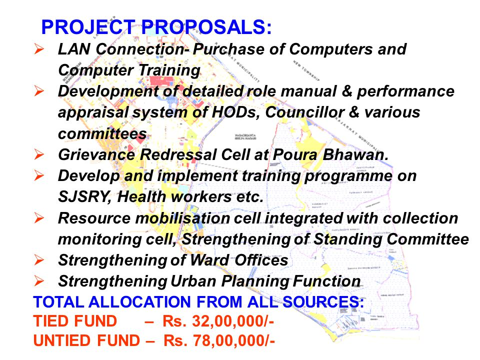 PROJECT PROPOSALS:  LAN Connection- Purchase of Computers and Computer Training  Development of detailed role manual & performance appraisal system