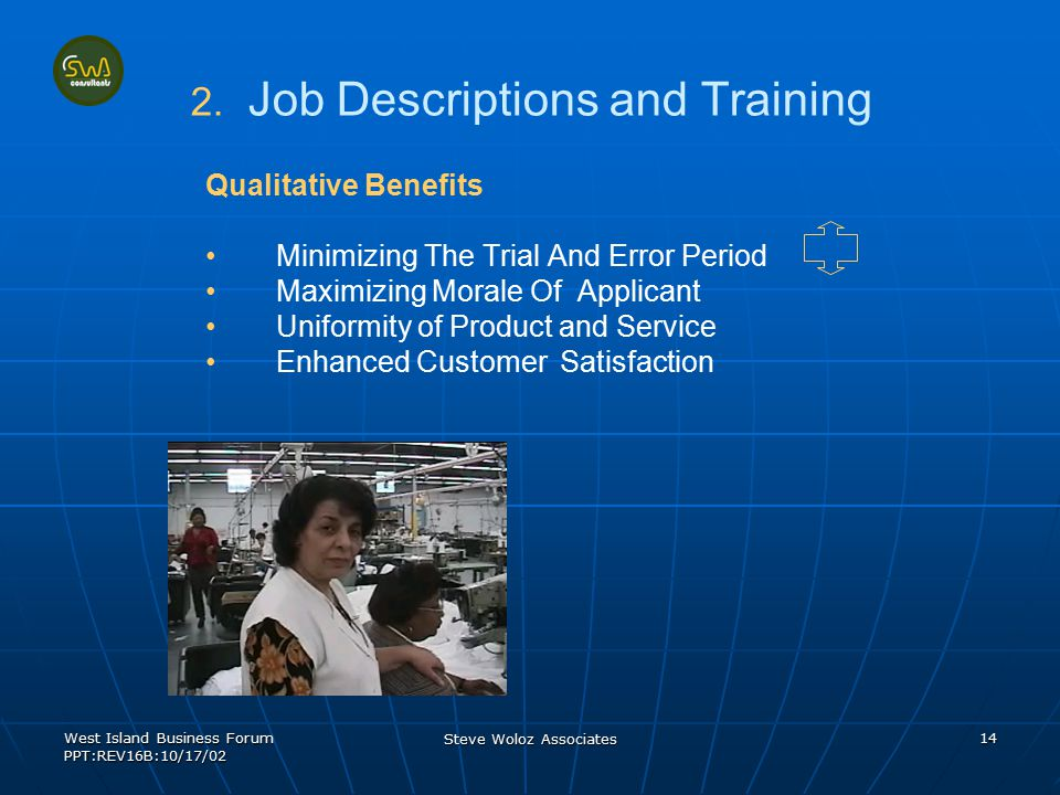 West Island Business Forum PPT:REV16B:10/17/02 Steve Woloz Associates 14 2. 2. Job Descriptions and Training Qualitative Benefits Minimizing The Trial