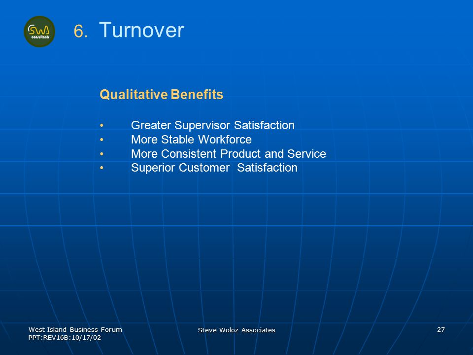 West Island Business Forum PPT:REV16B:10/17/02 Steve Woloz Associates 27 Qualitative Benefits Greater Supervisor Satisfaction More Stable Workforce Mo
