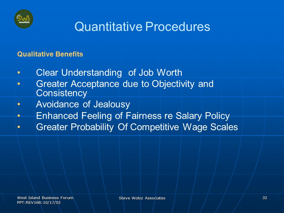 West Island Business Forum PPT:REV16B:10/17/02 Steve Woloz Associates 32 Quantitative Procedures Qualitative Benefits Clear Understanding of Job Worth