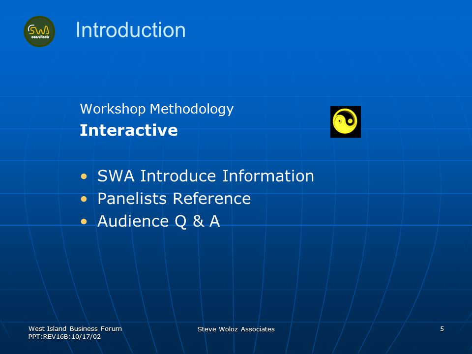West Island Business Forum PPT:REV16B:10/17/02 Steve Woloz Associates 5 Introduction Workshop Methodology Interactive SWA Introduce Information Paneli