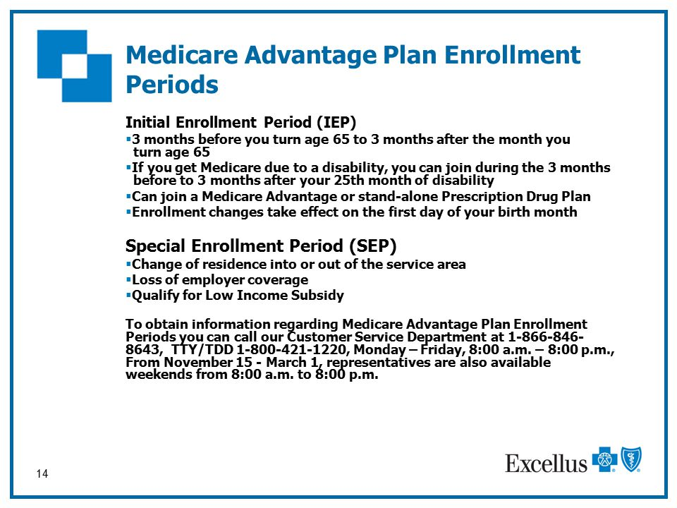 14 Initial Enrollment Period (IEP)  3 months before you turn age 65 to 3 months after the month you turn age 65  If you get Medicare due to a disability, you can join during the 3 months before to 3 months after your 25th month of disability  Can join a Medicare Advantage or stand-alone Prescription Drug Plan  Enrollment changes take effect on the first day of your birth month Special Enrollment Period (SEP)  Change of residence into or out of the service area  Loss of employer coverage  Qualify for Low Income Subsidy To obtain information regarding Medicare Advantage Plan Enrollment Periods you can call our Customer Service Department at 1-866-846- 8643, TTY/TDD 1-800-421-1220, Monday – Friday, 8:00 a.m.