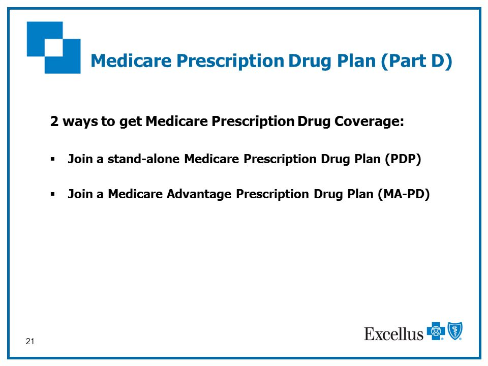 21 Medicare Prescription Drug Plan (Part D) 2 ways to get Medicare Prescription Drug Coverage:  Join a stand-alone Medicare Prescription Drug Plan (PDP)  Join a Medicare Advantage Prescription Drug Plan (MA-PD)