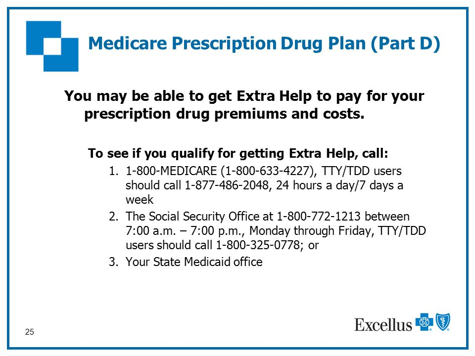 25 Medicare Prescription Drug Plan (Part D) You may be able to get Extra Help to pay for your prescription drug premiums and costs.