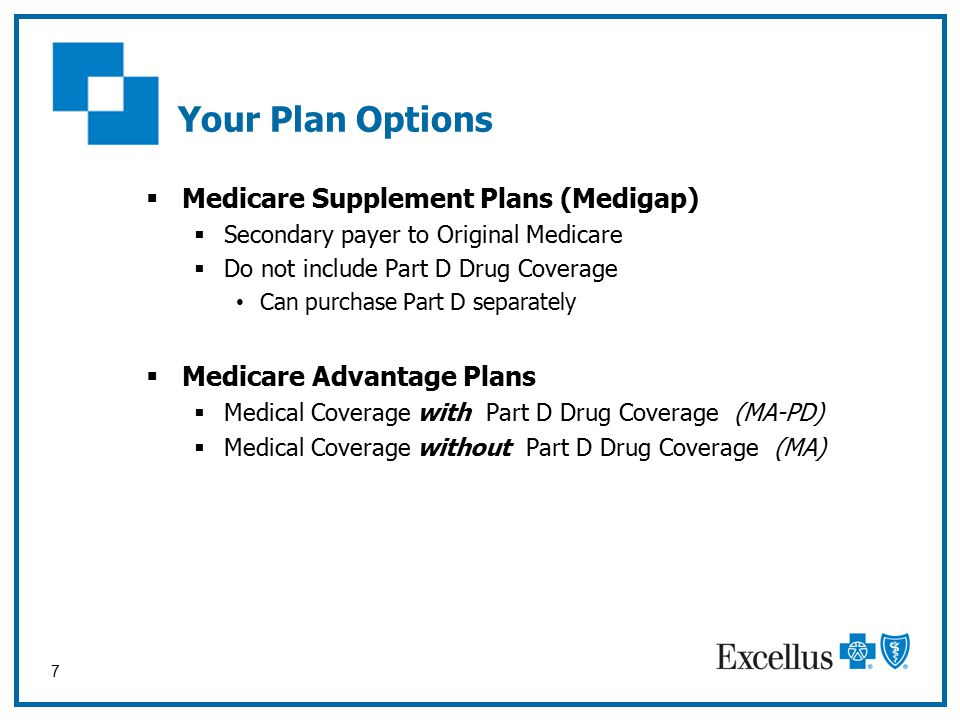 7 Your Plan Options  Medicare Supplement Plans (Medigap)  Secondary payer to Original Medicare  Do not include Part D Drug Coverage Can purchase Part D separately  Medicare Advantage Plans  Medical Coverage with Part D Drug Coverage (MA-PD)  Medical Coverage without Part D Drug Coverage (MA)