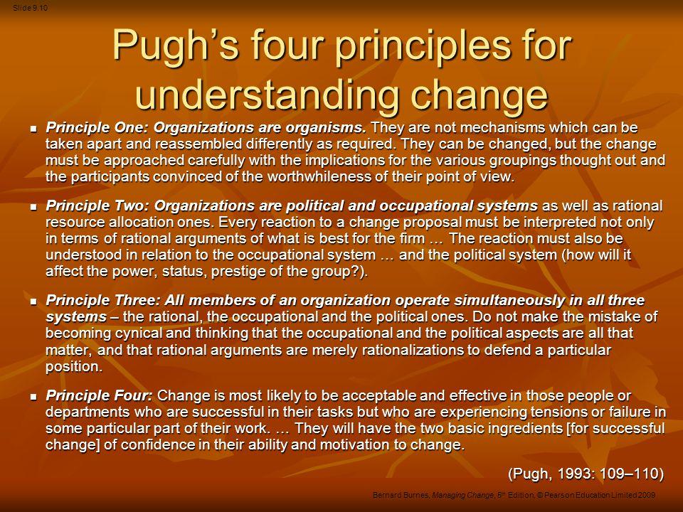 Slide 9.10 Bernard Burnes, Managing Change, 5 th Edition, © Pearson Education Limited 2009 Pugh's four principles for understanding change Principle O
