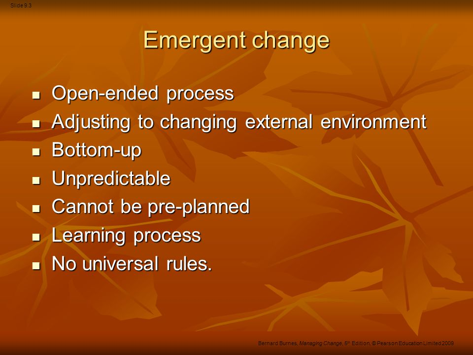 Slide 9.24 Bernard Burnes, Managing Change, 5 th Edition, © Pearson Education Limited 2009 Overview of the themes Figure 16.1 An overview of communication in organisations
