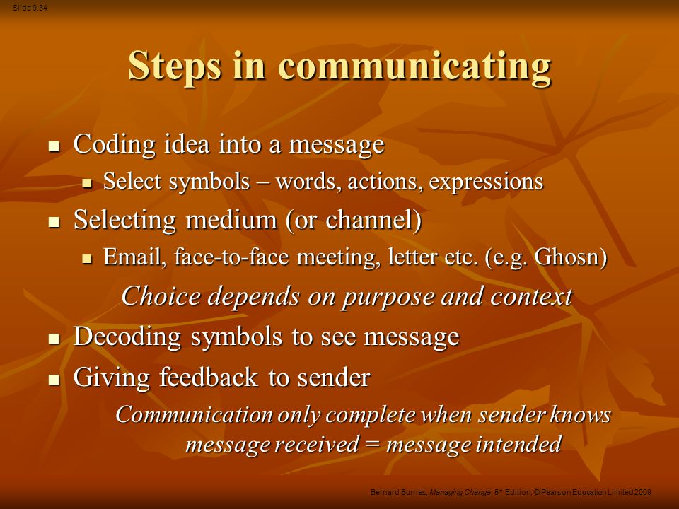 Slide 9.34 Bernard Burnes, Managing Change, 5 th Edition, © Pearson Education Limited 2009 Steps in communicating Coding idea into a message Coding id