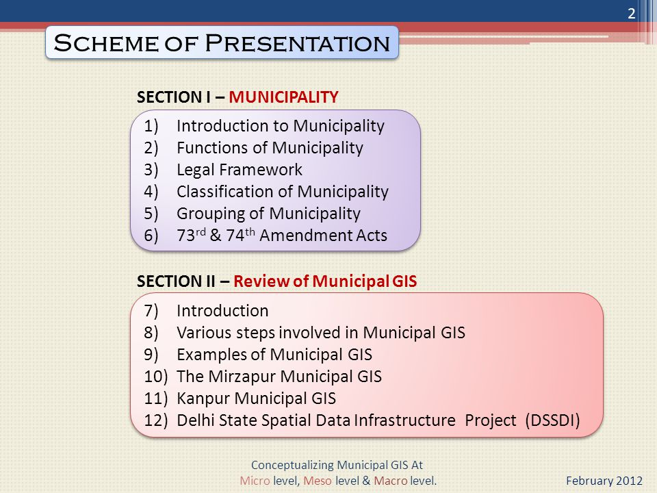 SECTION I – MUNICIPALITY SECTION II – Review of Municipal GIS 1)Introduction to Municipality 2)Functions of Municipality 3)Legal Framework 4)Classification of Municipality 5)Grouping of Municipality 6)73 rd & 74 th Amendment Acts 1)Introduction to Municipality 2)Functions of Municipality 3)Legal Framework 4)Classification of Municipality 5)Grouping of Municipality 6)73 rd & 74 th Amendment Acts Scheme of Presentation Conceptualizing Municipal GIS At Micro level, Meso level & Macro level.