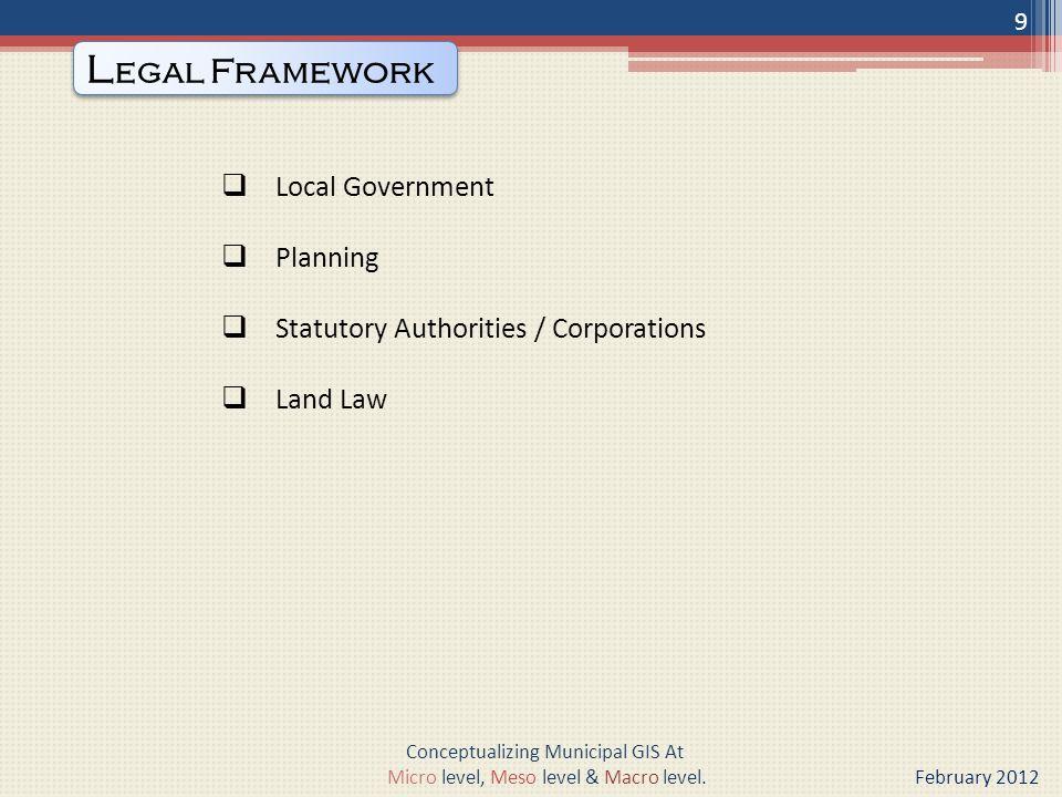 Three classes of municipalities as specified below :- C LASSIFICATION OF MUNICIPALITY 10 Conceptualizing Municipal GIS At Micro level, Meso level & Macro level.