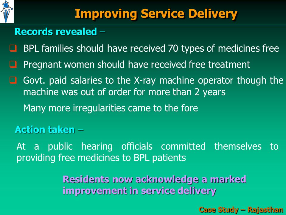 Improving Service Delivery Case Study – Rajasthan Records revealed –   BPL families should have received 70 types of medicines free   Pregnant women should have received free treatment   Govt.