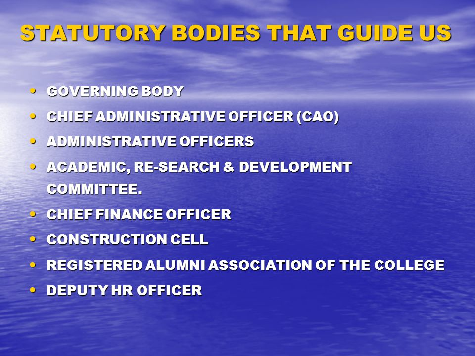STATUTORY BODIES THAT GUIDE US GOVERNING BODY GOVERNING BODY CHIEF ADMINISTRATIVE OFFICER (CAO) CHIEF ADMINISTRATIVE OFFICER (CAO) ADMINISTRATIVE OFFICERS ADMINISTRATIVE OFFICERS ACADEMIC, RE-SEARCH & DEVELOPMENT COMMITTEE.