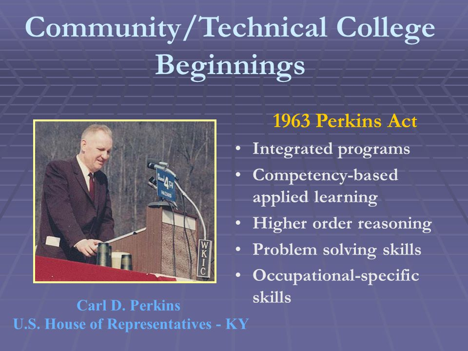 Community/Technical College Beginnings 1963 Perkins Act Integrated programs Competency-based applied learning Higher order reasoning Problem solving skills Occupational-specific skills Carl D.